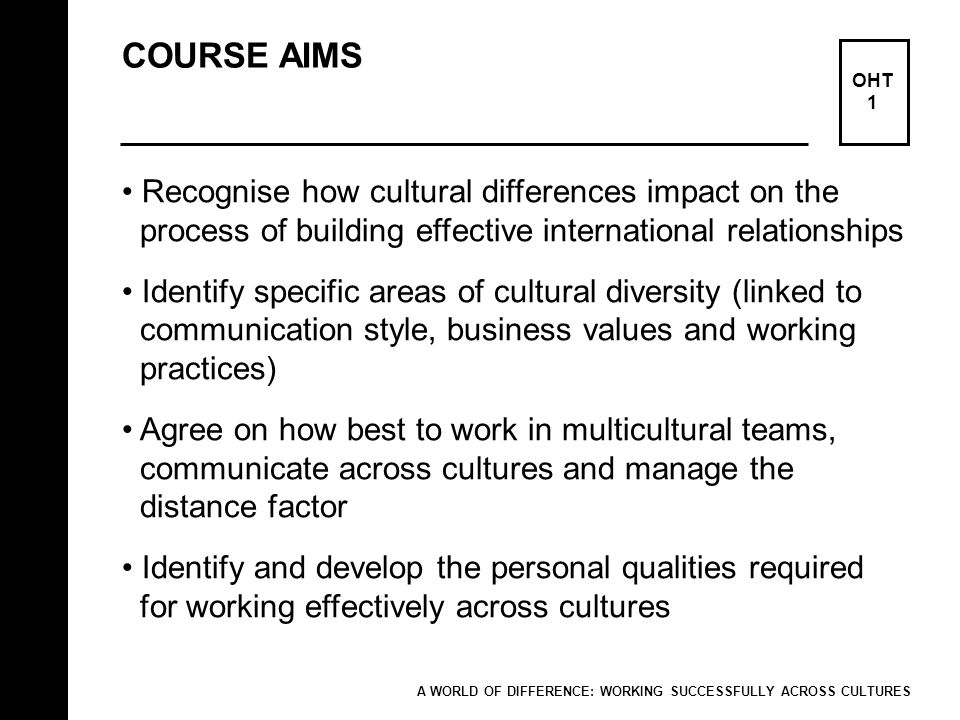 COURSE AIMS Recognise how cultural differences impact on the