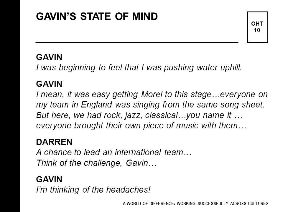 GAVIN'S STATE OF MIND GAVIN