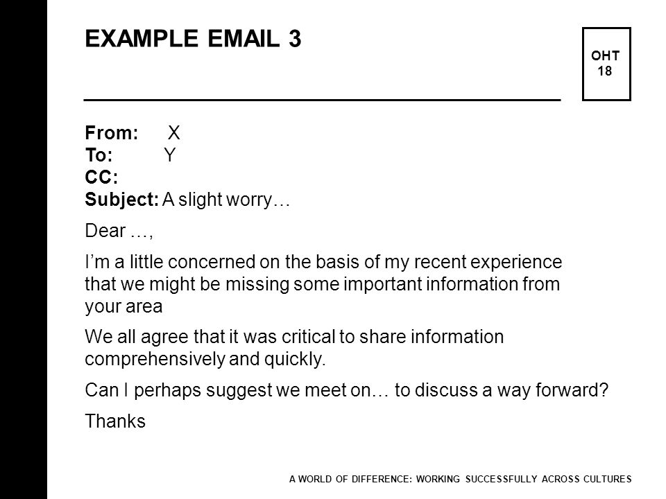 EXAMPLE EMAIL 3 From: X To: Y CC: Subject: A slight worry… Dear …,
