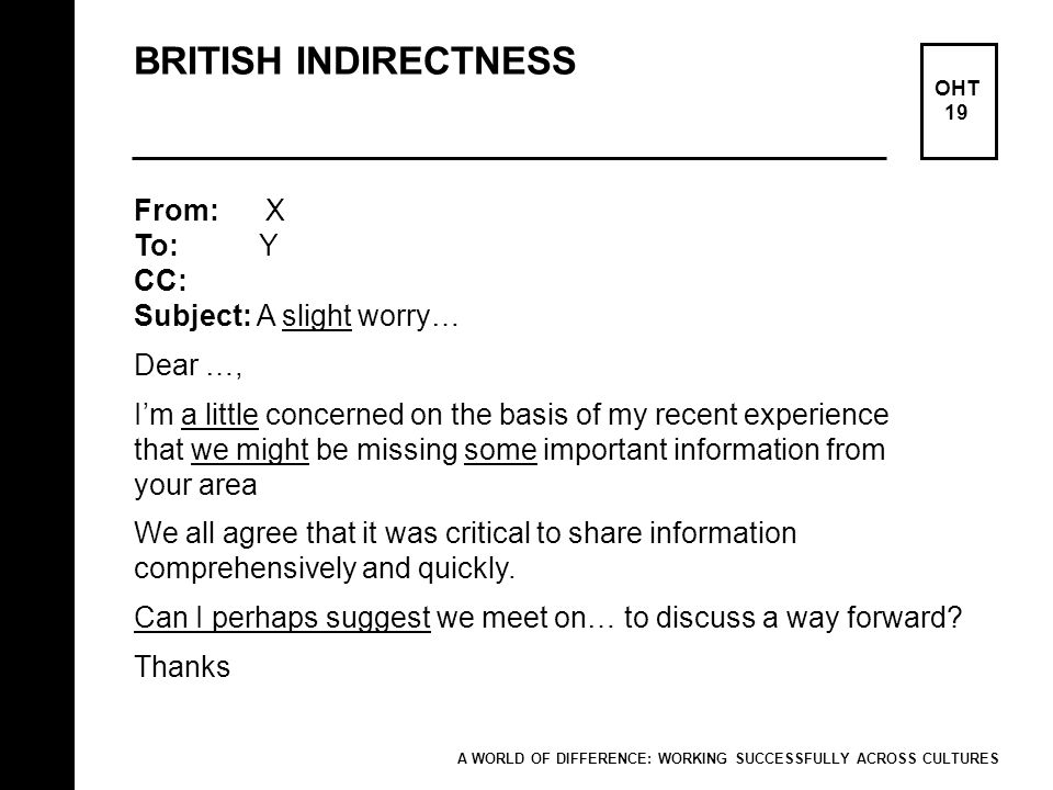 BRITISH INDIRECTNESS From: X To: Y CC: Subject: A slight worry…