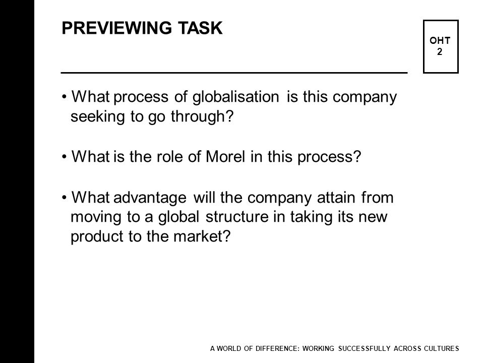 PREVIEWING TASK What process of globalisation is this company