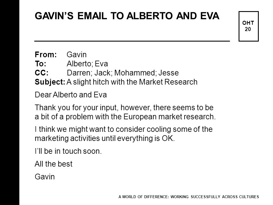 GAVIN'S EMAIL TO ALBERTO AND EVA