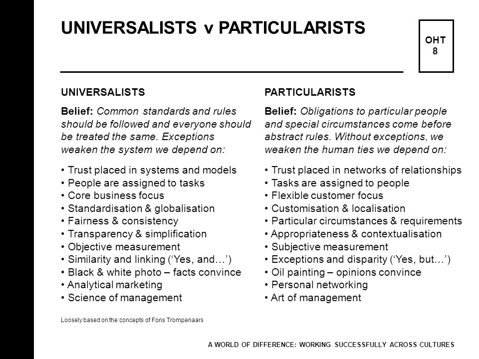 UNIVERSALISTS v PARTICULARISTS