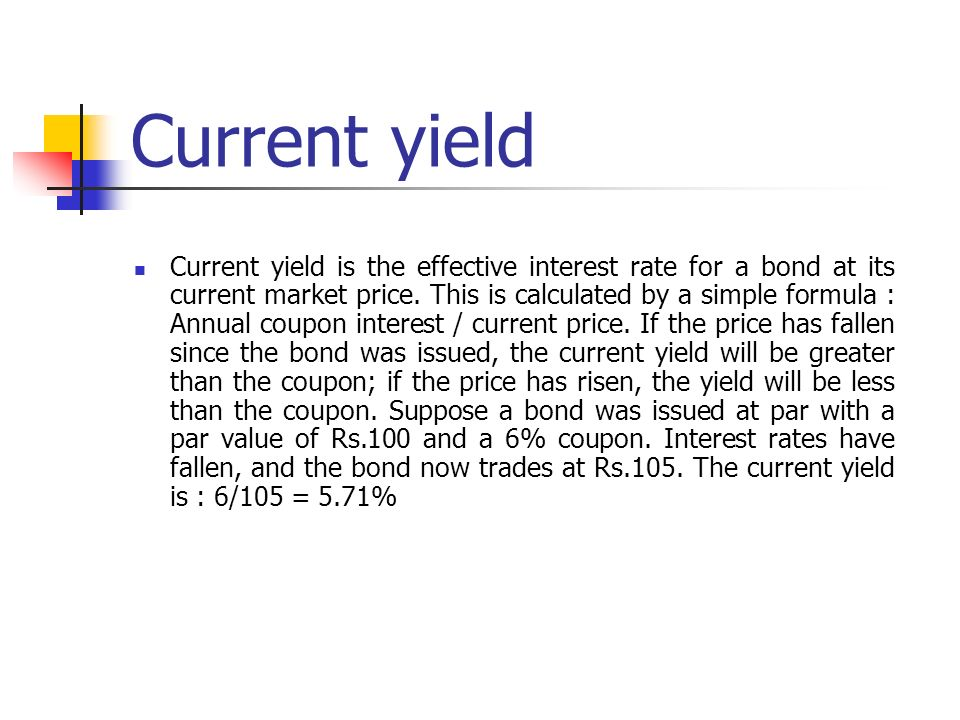 Coupon greater than yield