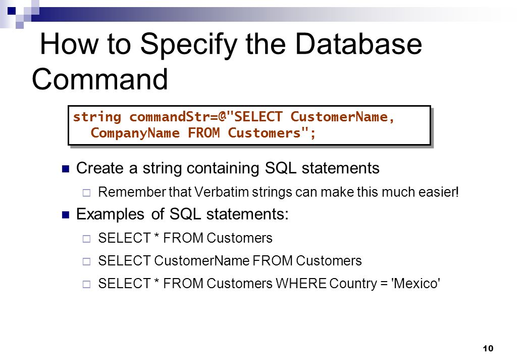 How to Specify the Database Command