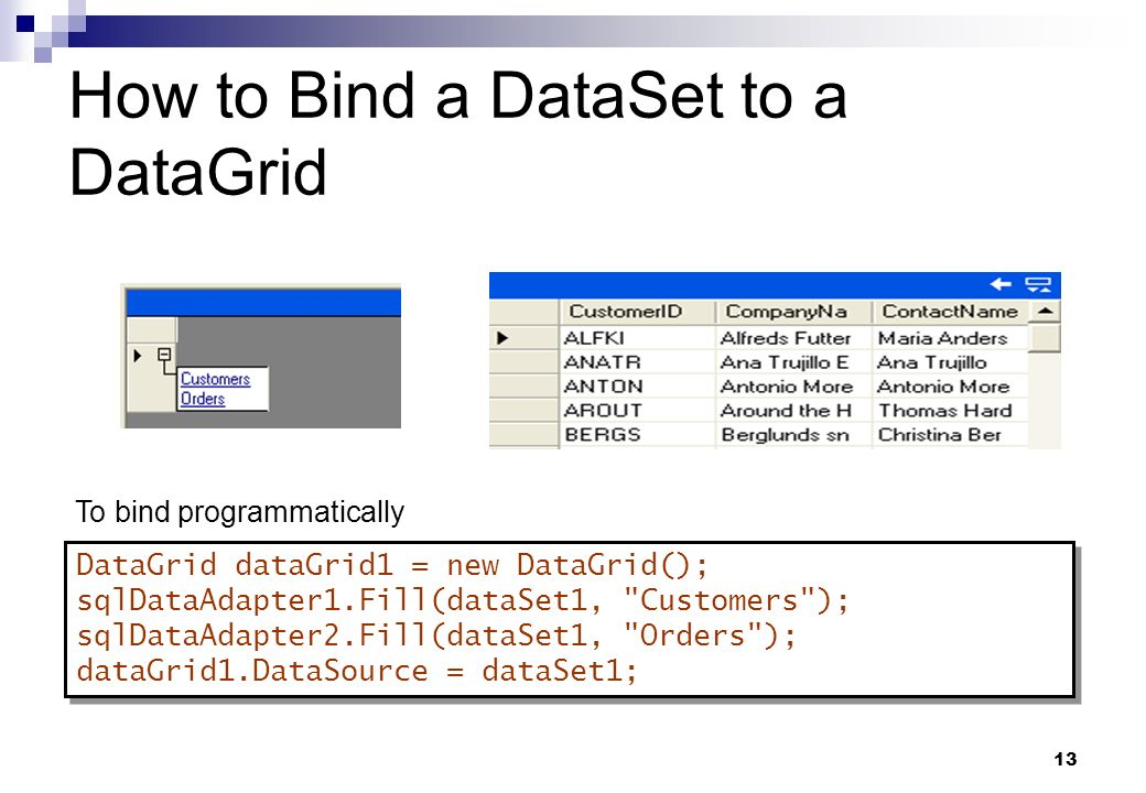 How to Bind a DataSet to a DataGrid