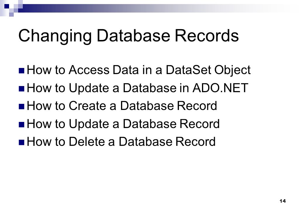 Changing Database Records