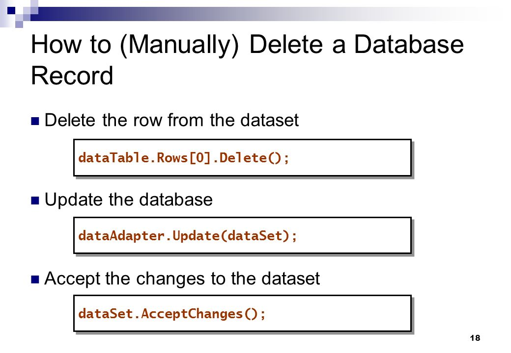 How to (Manually) Delete a Database Record