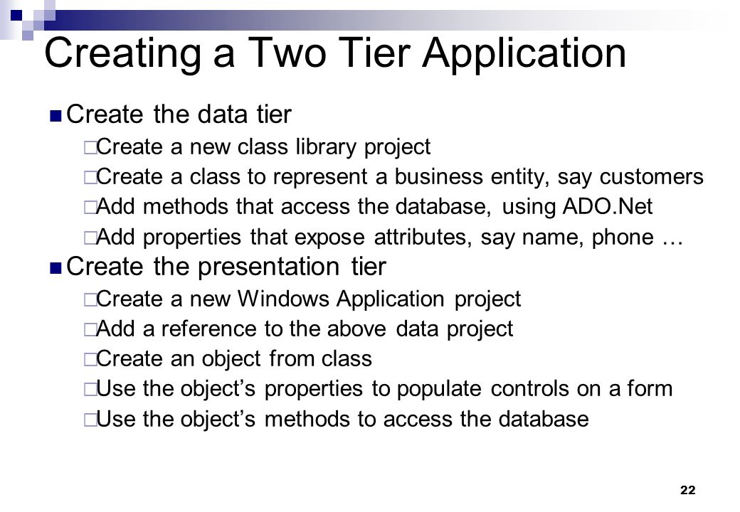 Creating a Two Tier Application