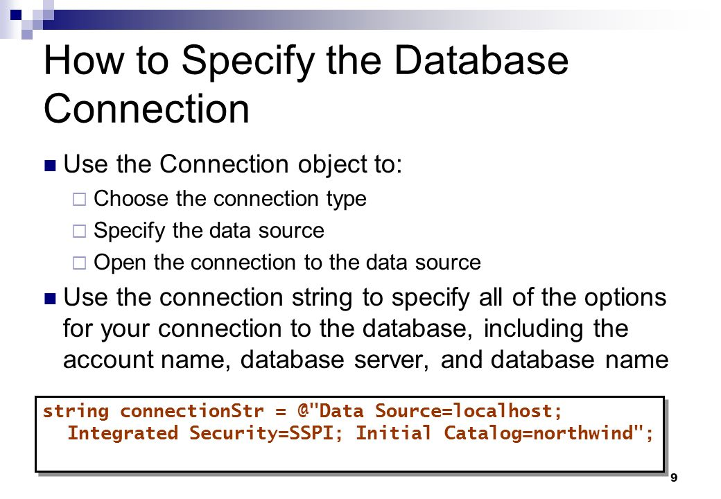 How to Specify the Database Connection