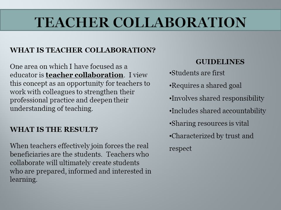 Collaborative Teaching Goals ~ Elementary education teaching portfolio ppt video online
