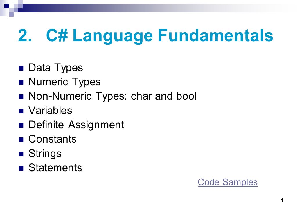 2. C# Language Fundamentals