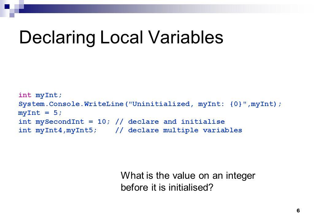 Declaring Local Variables