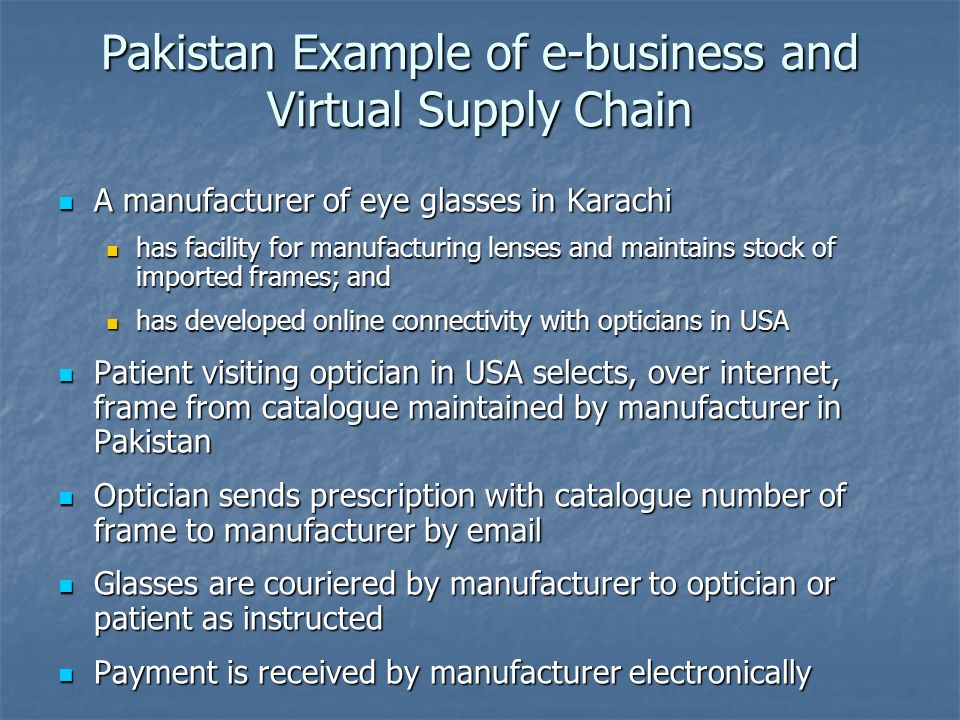 Pakistan Example of e-business and Virtual Supply Chain