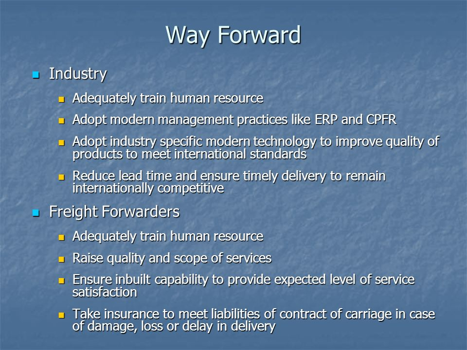 Way Forward Industry Freight Forwarders