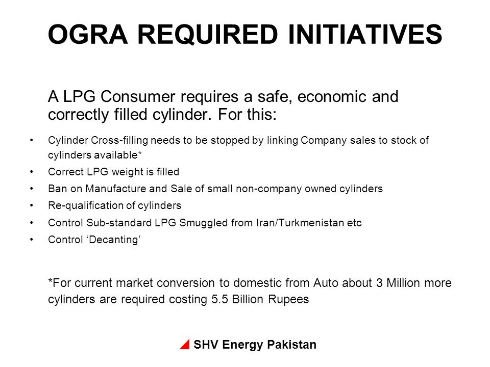 OGRA REQUIRED INITIATIVES