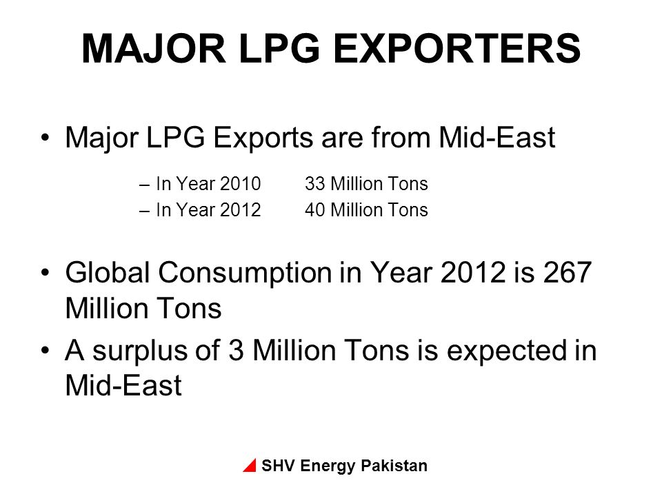 MAJOR LPG EXPORTERS Major LPG Exports are from Mid-East