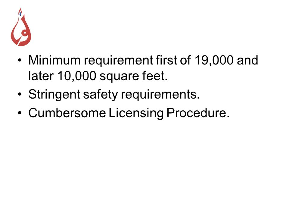 Minimum requirement first of 19,000 and later 10,000 square feet.