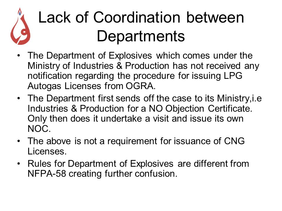 Lack of Coordination between Departments