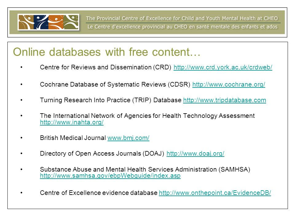 Online databases with free content…