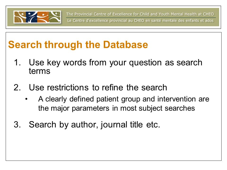 Search through the Database