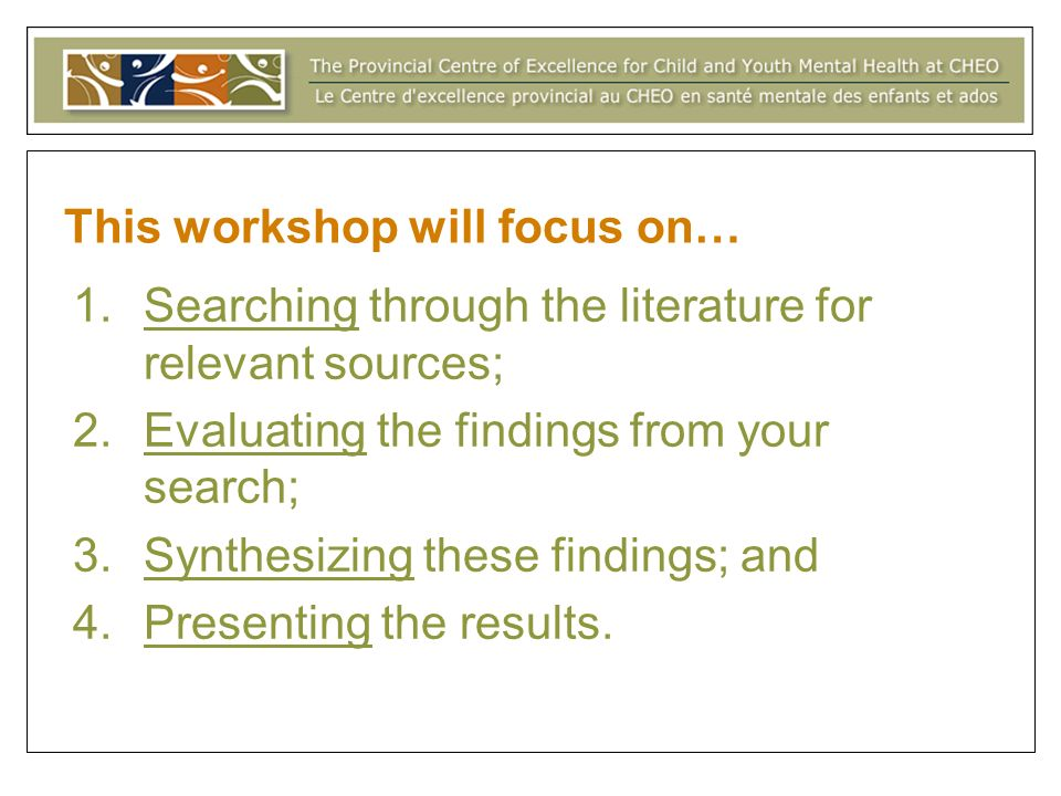 This workshop will focus on…