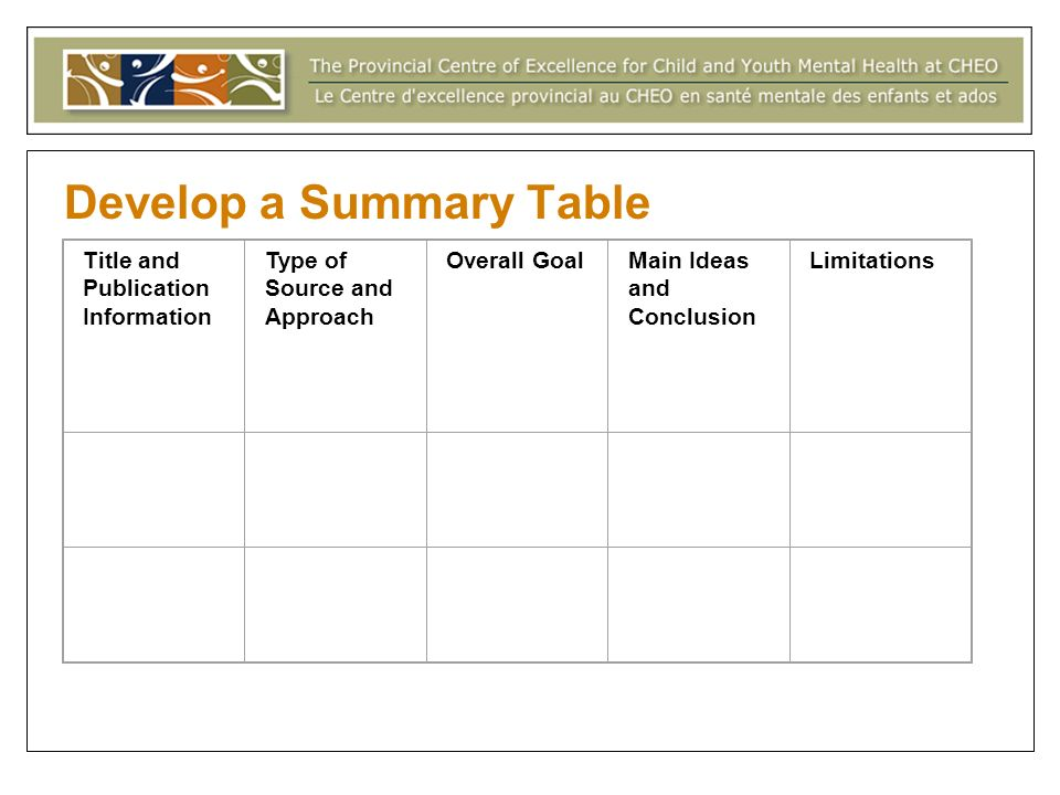 Develop a Summary Table