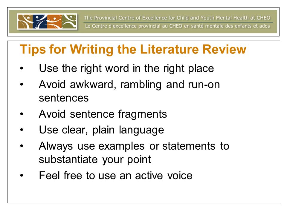 Tips for Writing the Literature Review