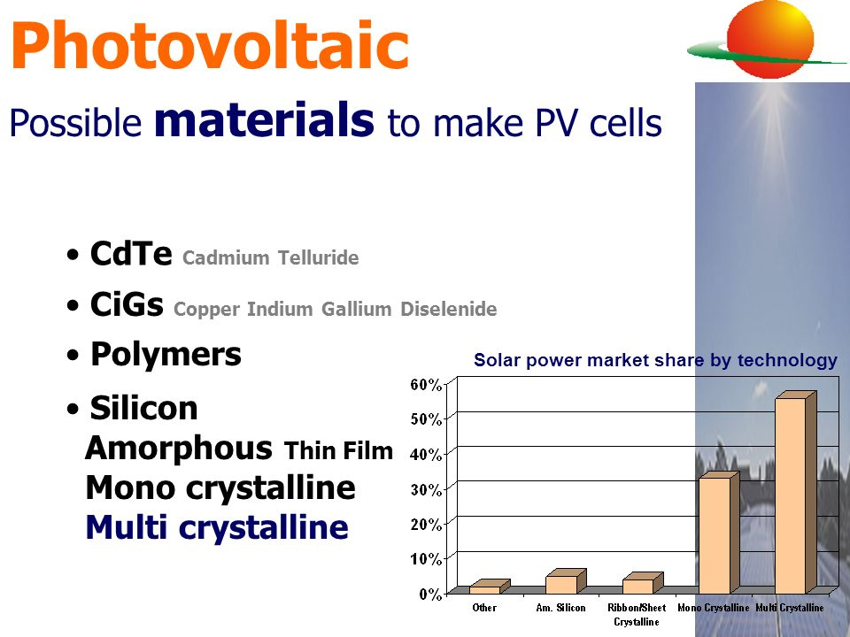 Photovoltaic Possible materials to make PV cells