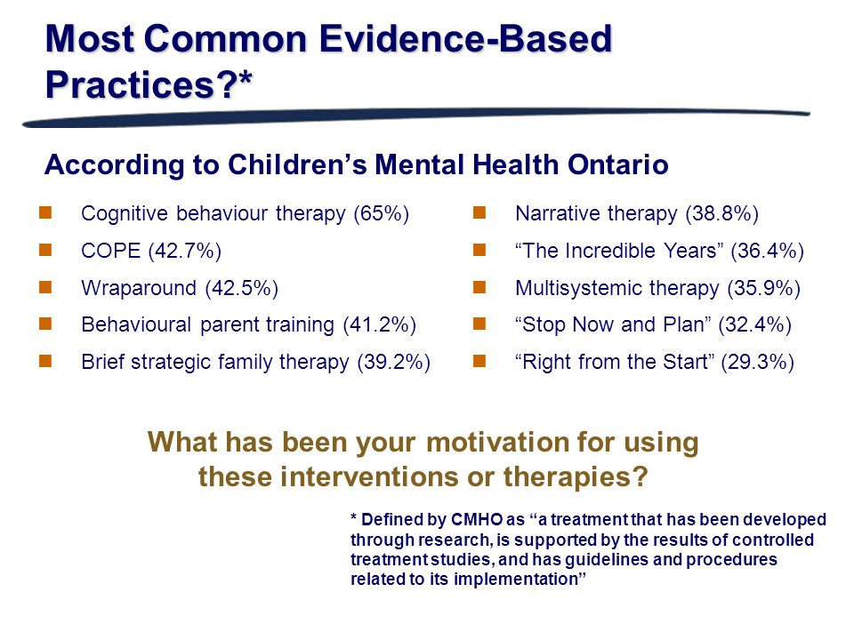 Most Common Evidence-Based Practices *