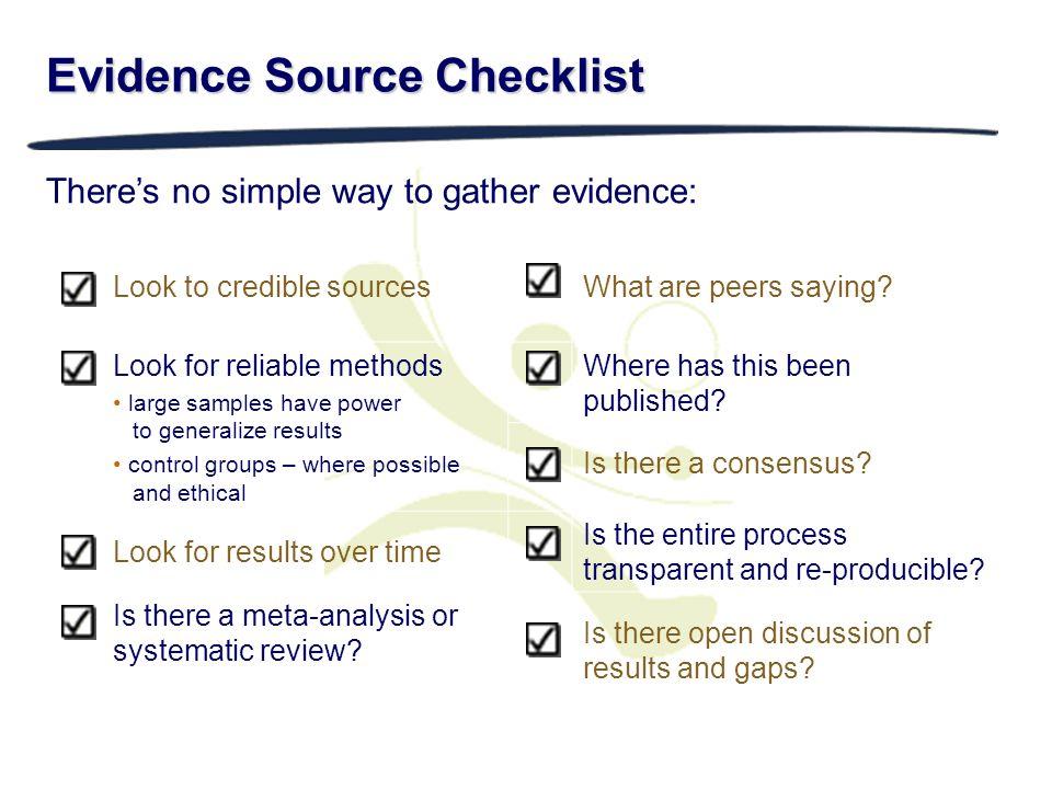 Evidence Source Checklist