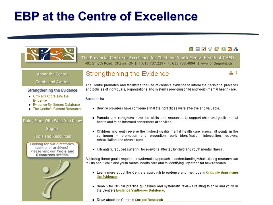 EBP at the Centre of Excellence