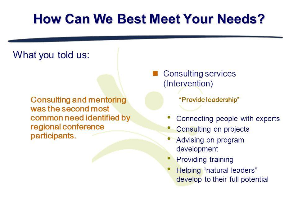 How Can We Best Meet Your Needs