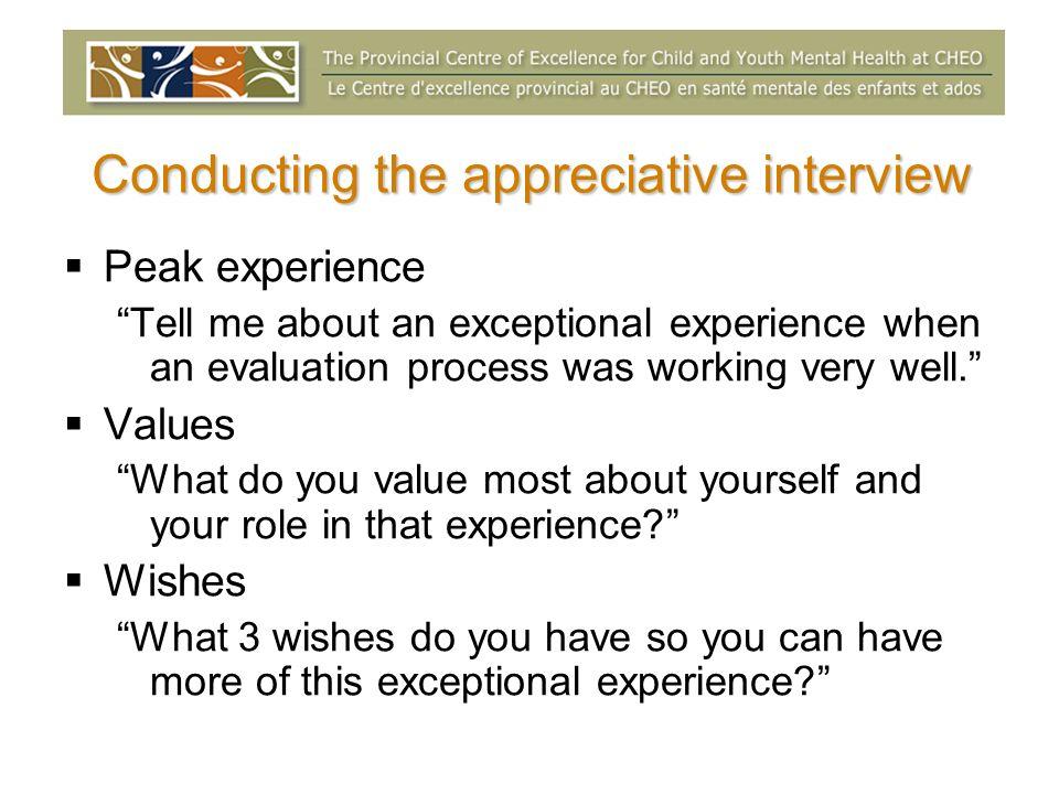 Conducting the appreciative interview