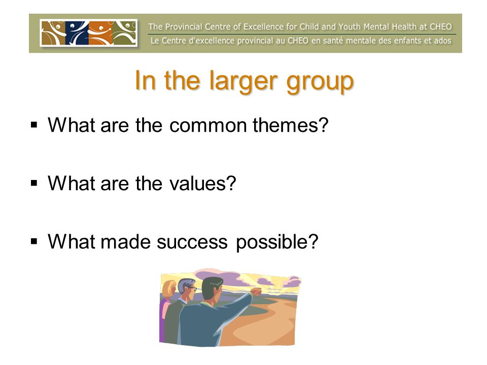 In the larger group What are the common themes What are the values