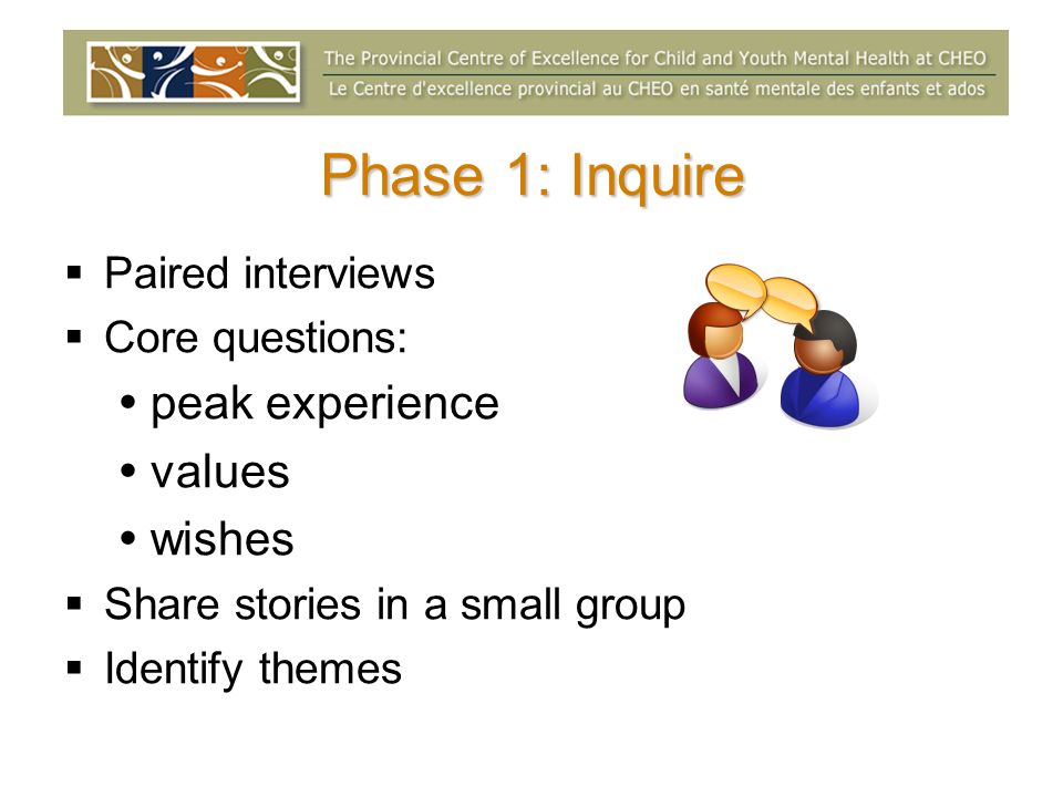 Phase 1: Inquire peak experience values wishes Paired interviews