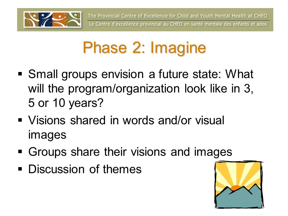 Phase 2: Imagine Small groups envision a future state: What will the program/organization look like in 3, 5 or 10 years