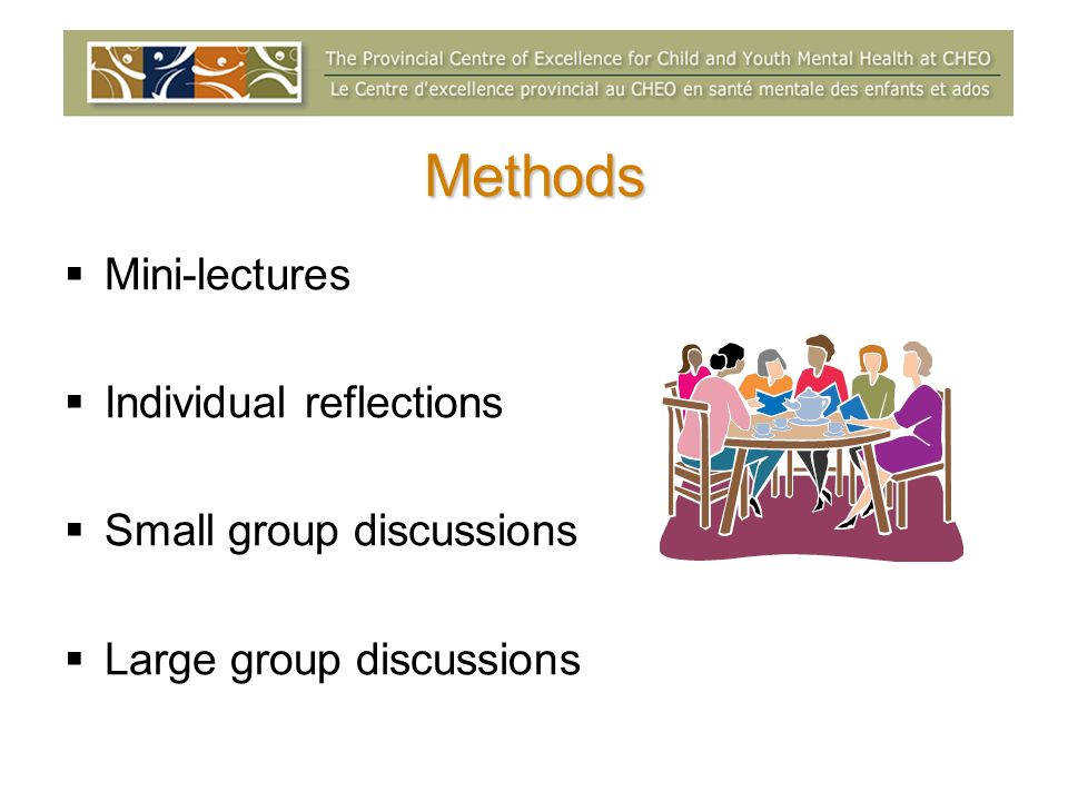 Methods Mini-lectures Individual reflections Small group discussions