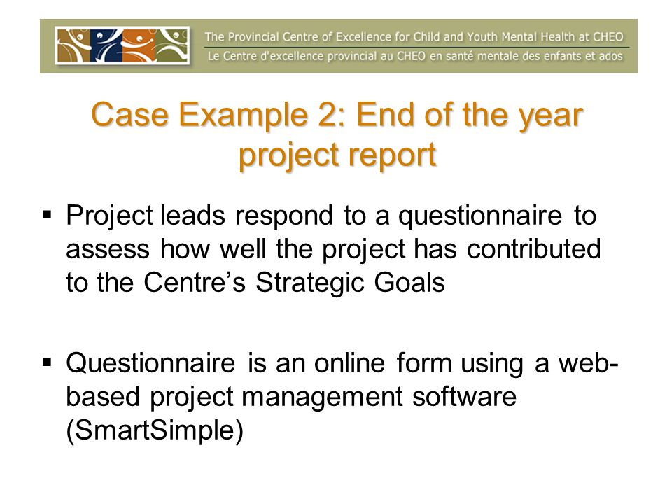 Case Example 2: End of the year project report