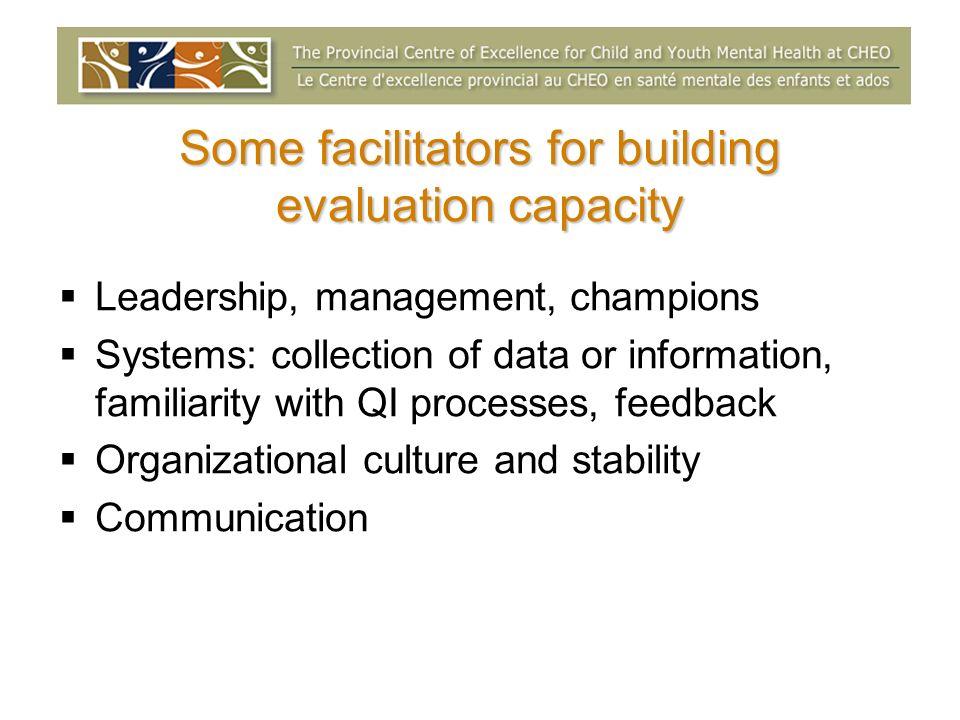 Some facilitators for building evaluation capacity