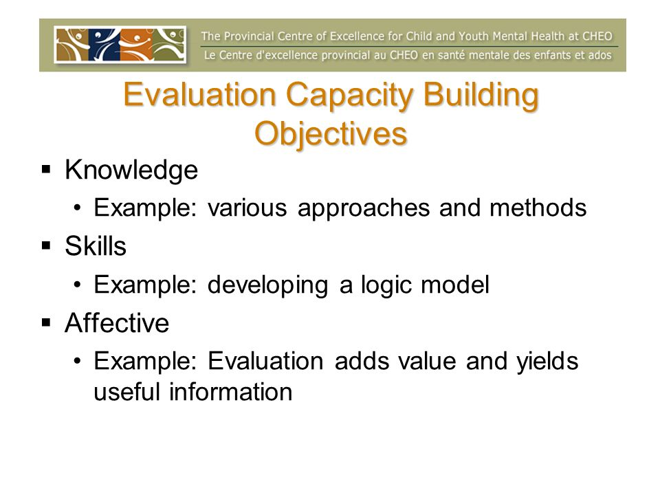 Evaluation Capacity Building Objectives