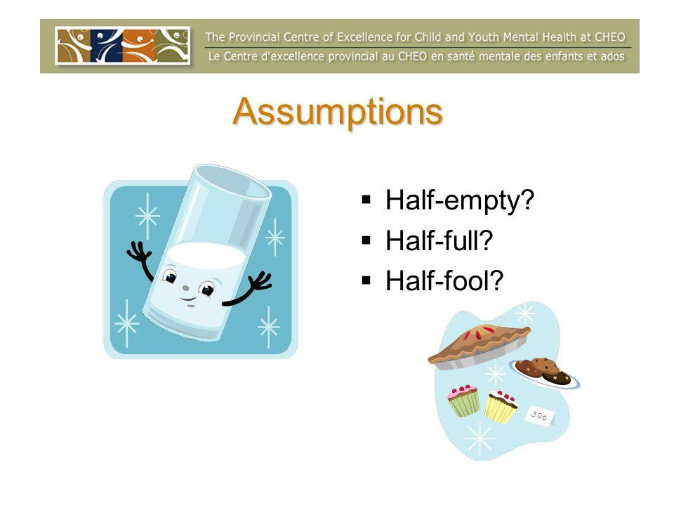 Assumptions Half-empty Half-full Half-fool