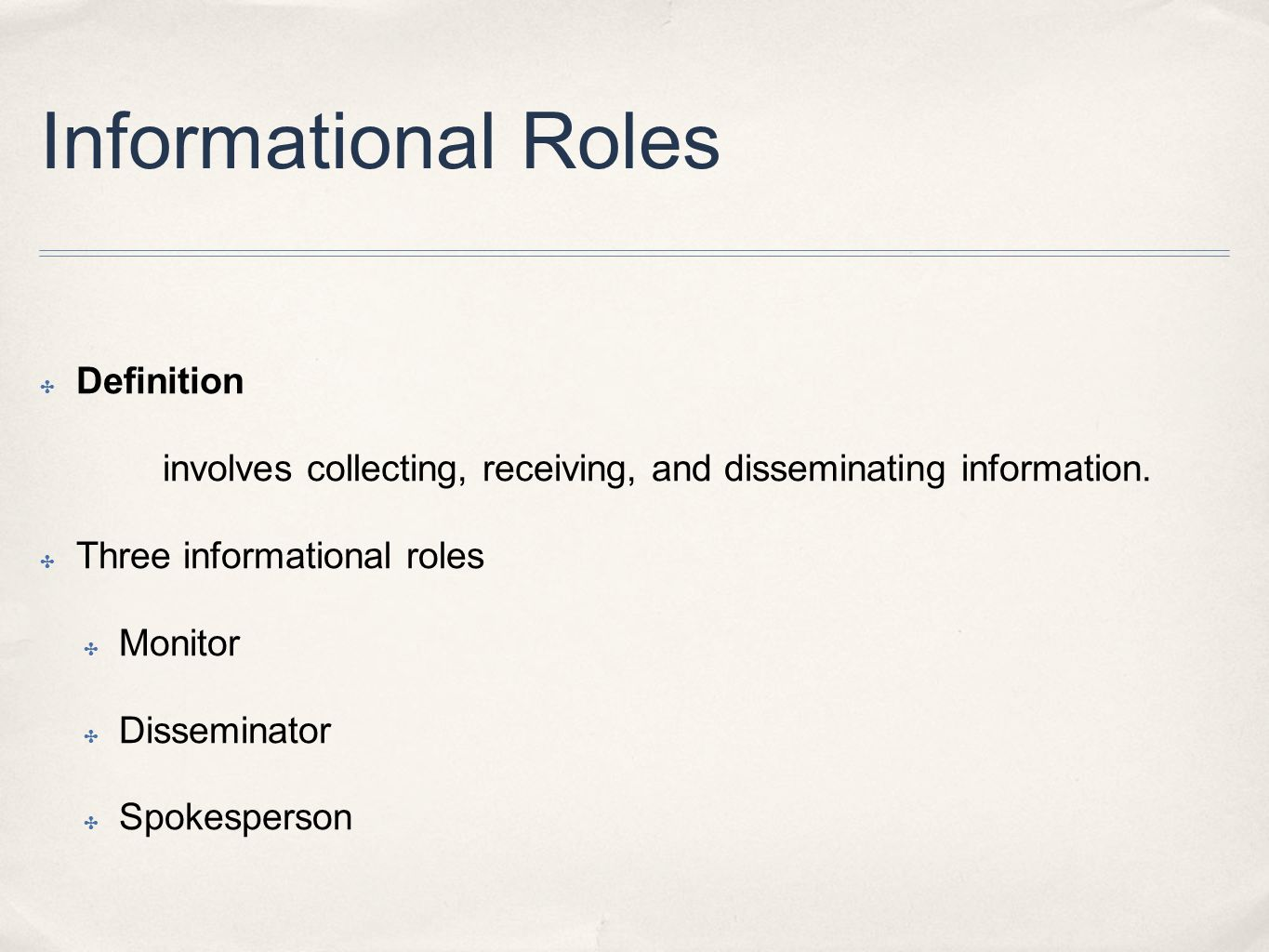Informational Roles Definition
