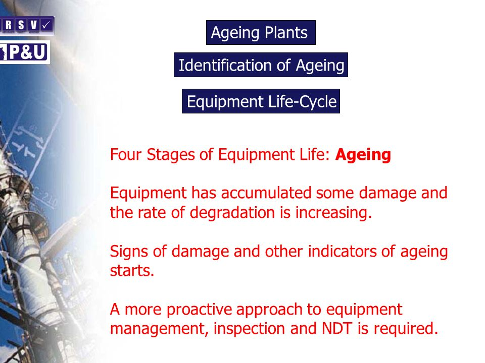 Ageing Plants n. Identification of Ageing. n. Equipment Life-Cycle. n. Four Stages of Equipment Life: Ageing.