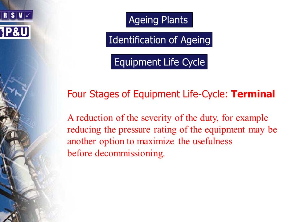 Ageing Plants n. Identification of Ageing. n. Equipment Life Cycle. n. Four Stages of Equipment Life-Cycle: Terminal.