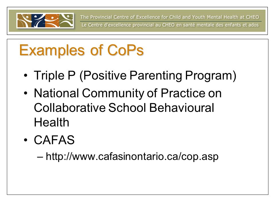 Examples of CoPs Triple P (Positive Parenting Program)