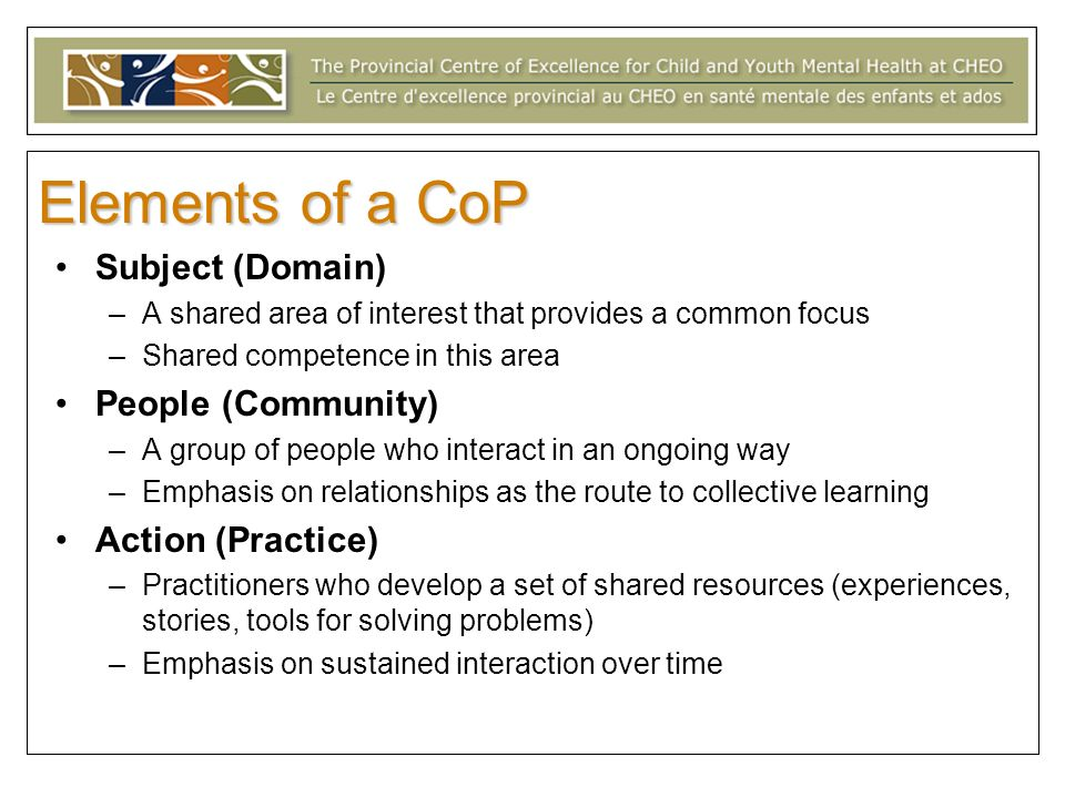 Elements of a CoP Subject (Domain) People (Community)