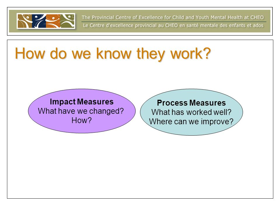 How do we know they work Impact Measures Process Measures