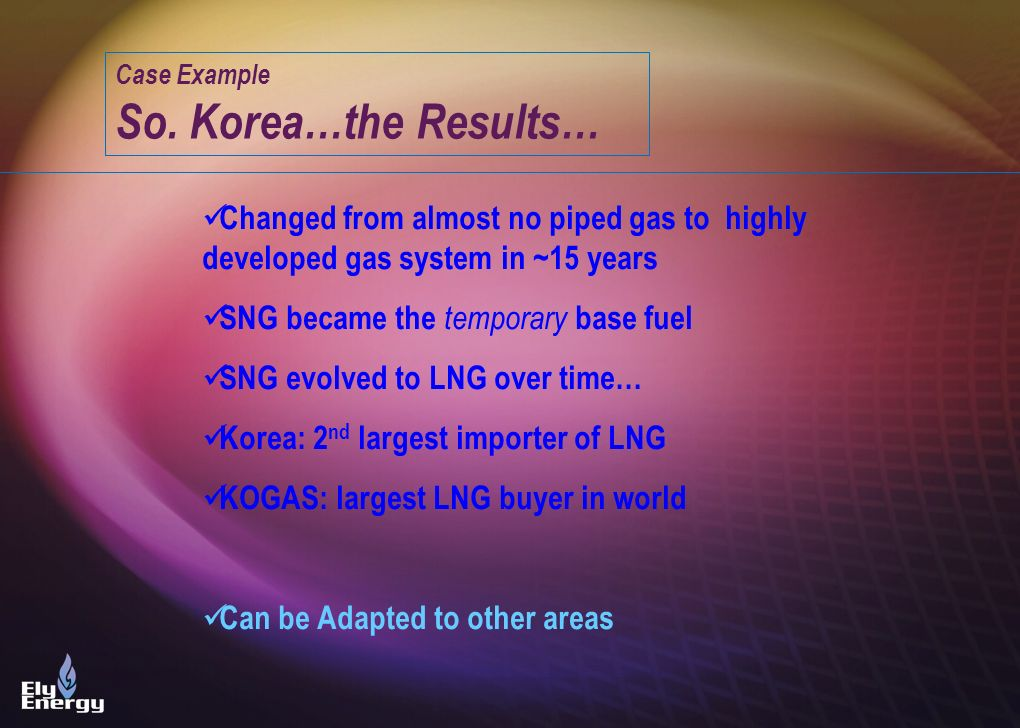 Case Example So. Korea…the Results… Changed from almost no piped gas to highly developed gas system in ~15 years.