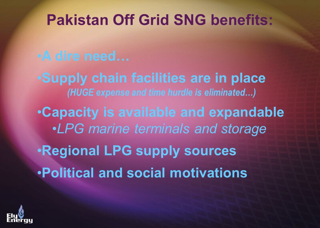 Pakistan Off Grid SNG benefits: